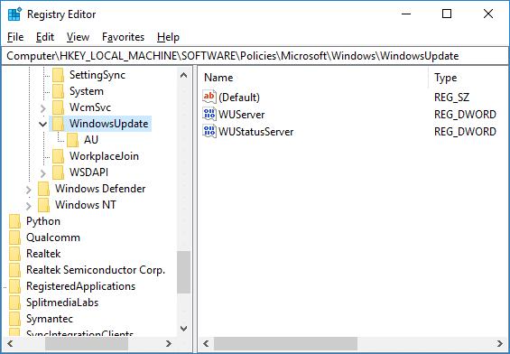 Navigate to WindowsUpdate Registry key