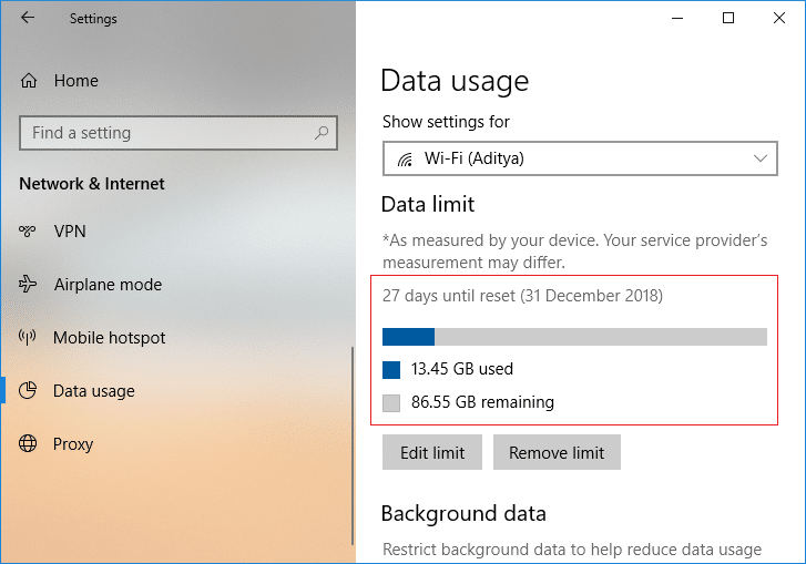 Once you click Save, it will give you details on how much your data has been consumed till now