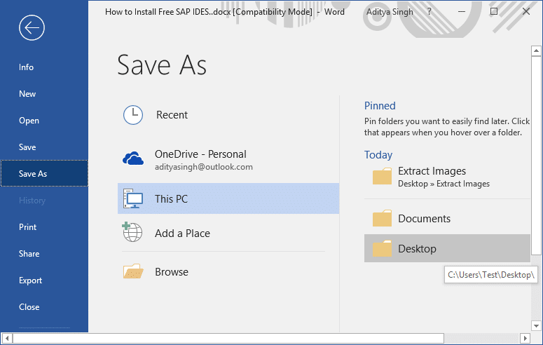 Open the Word Document then click on File button from the Toolbar & select Save As