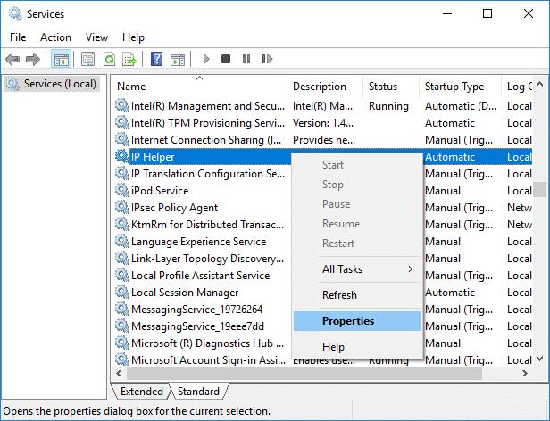 Right-click onIP Helper servicethen select Properties | Fix IPv6 Connectivity No Internet Access on Windows 10