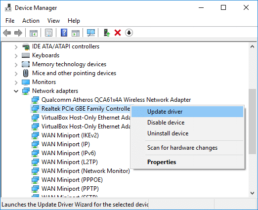 Right-click on Realtek PCIe FE Family Controller and UpdateDriver.
