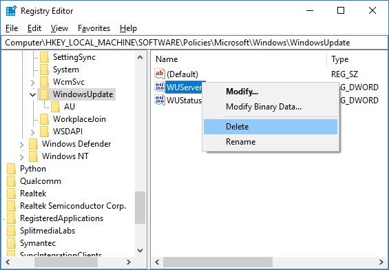 Right-click onWUServer and select Delete