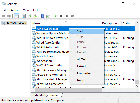 Right-click on Windows Update service then select Start
