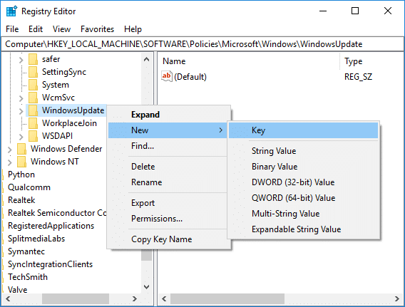 Right-click on WindowsUpdate then select New Key