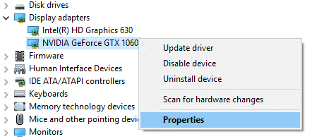 Right-click on any one of the graphics card then select Properties