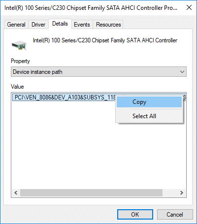 Right-click on the text present inside Value field and select Copy