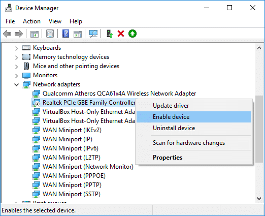 Right-click on your Ethernet device and select Enable