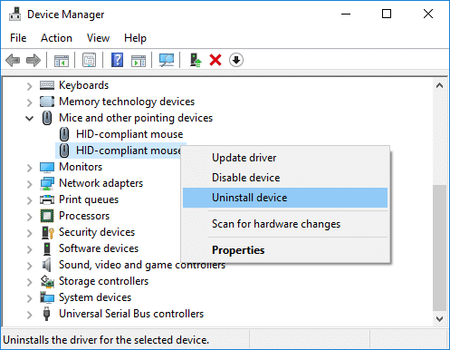 Right-click on your touchpad device and select Uninstall