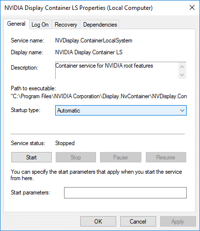Select Automatic from Startup type drop-down forNVIDIA Display Container LS