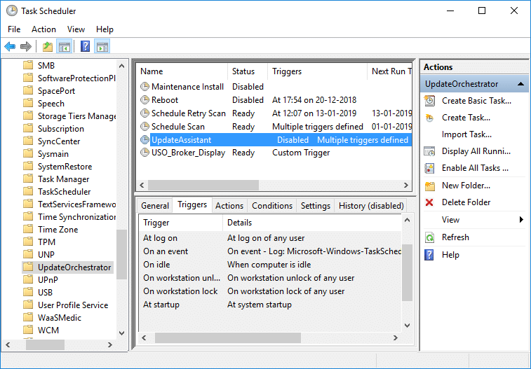 Select UpdateOrchestrator then in the right window pane double-click on Update Assistant