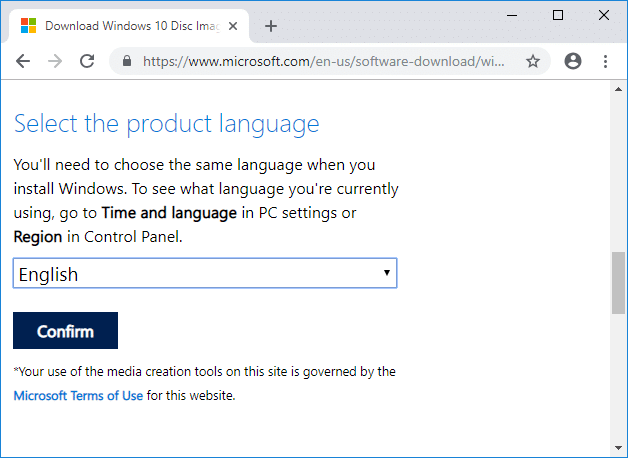 Select language according to your preferences and click on Confirm