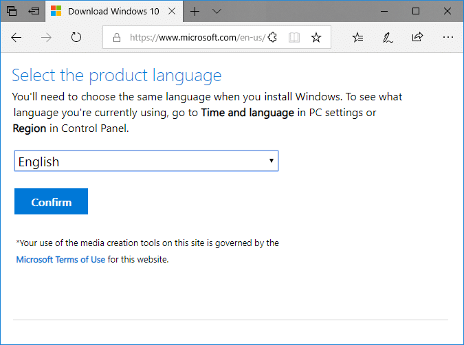 Select language according to your preferences & click Confirm