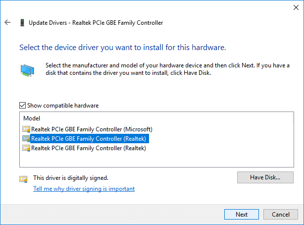 Select the latest Realtek PCIe FE Family Controller driver and click Next