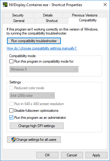 Switch to Compatibility tab then again checkmark Run this program as an Administrator