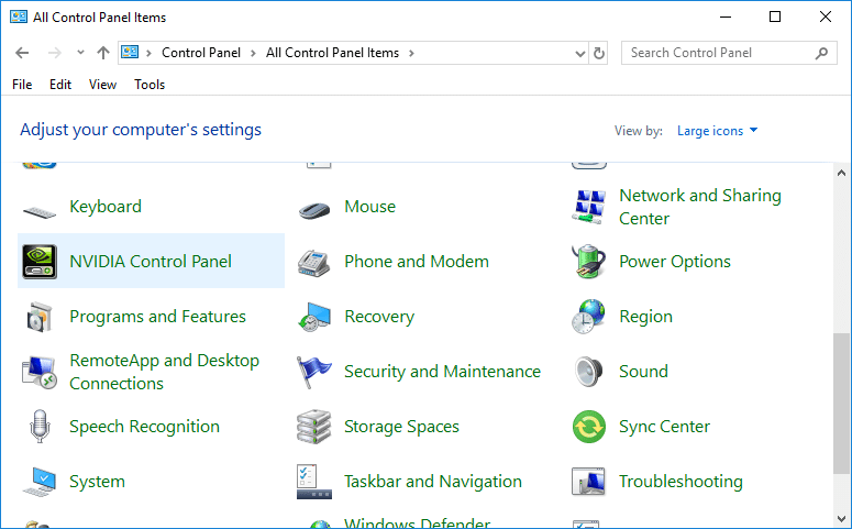 Under Control Panel select NVIDIA Control Panel