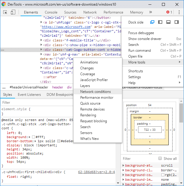 Under Developer Console click on the three-dots& under More Tools select Network conditions