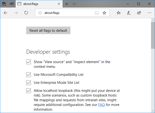 checkmark 'Show View source and Inspect element in the context menu' option