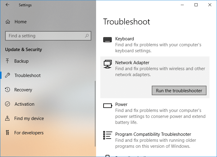 Click on Network Adapter and then click on Run the troubleshooter