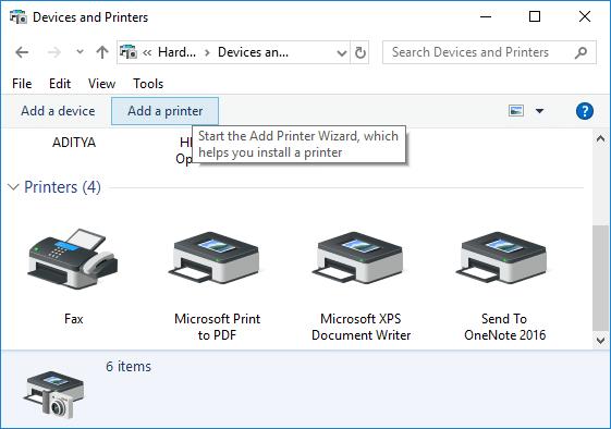 Click on the Add a printer button