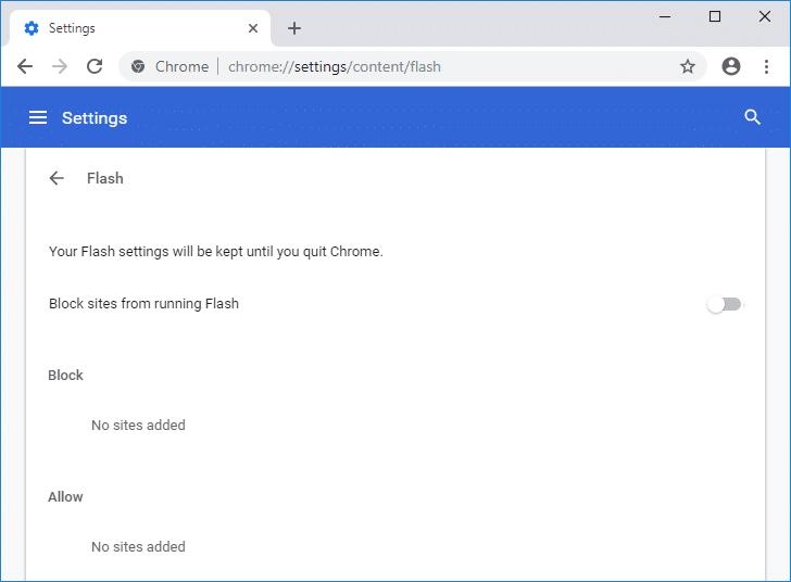 Disable Adobe Flash Player on Chrome