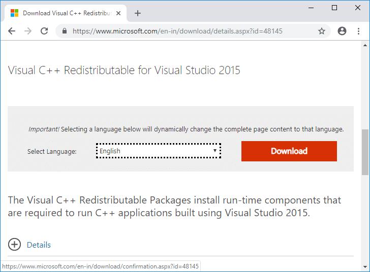 Download Visual C++ Redistributable for Visual Studio 2015 from Microsoft Website