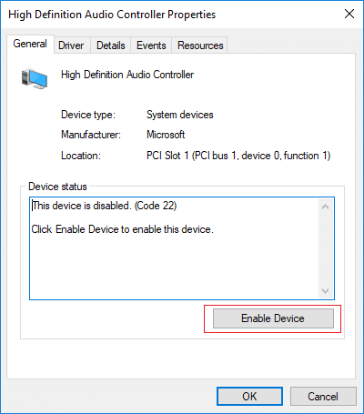 Enable High Definition Audio Controller