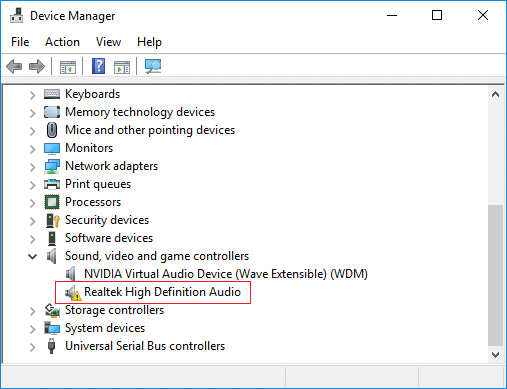 If there is a yellow exclamation mark under Sound driver, you need to right click and update the driver