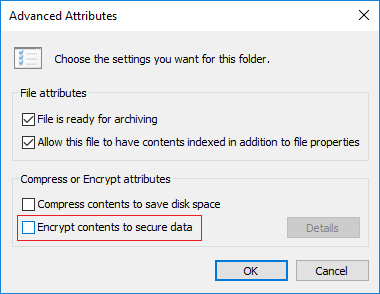 In the Advanced Attributes window, you will be able to checkmark Encrypt contents to secure data