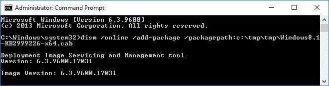 Install Windows8.1-KB2999226-x64.msu