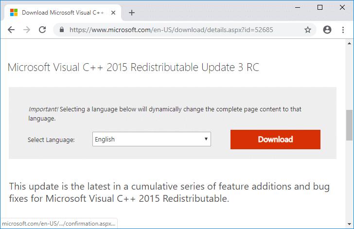 Microsoft Visual C++ 2015 Redistributable Update 3 RC from Microsoft website
