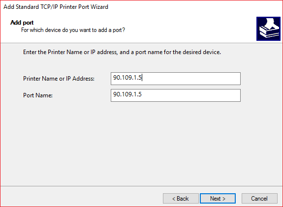 Now type in the Printers IP Address and Port name then click Next