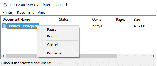 Remove any unfinished tasks in the Printer Queue