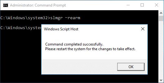 Reset the licensing status on Windows 10 slmgr –rearm