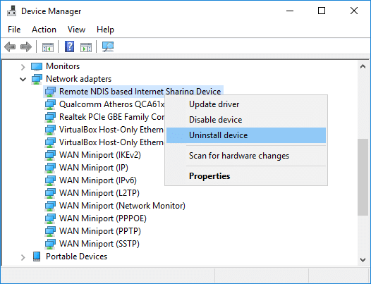 Right-click Remote NDIS based Internet Sharing Device& select Uninstall