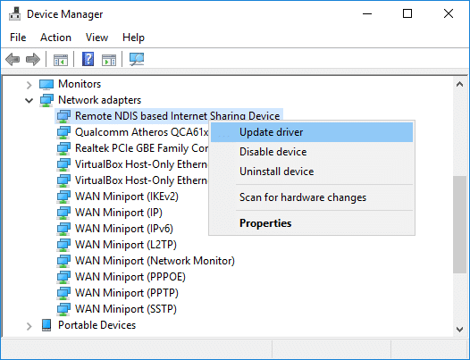 Right-click Remote NDIS based Internet Sharing Device & select Update Driver