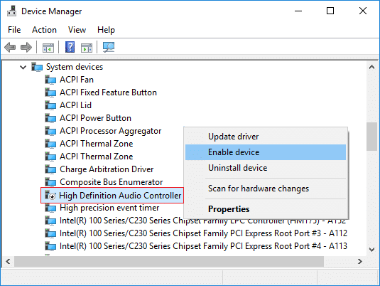 Right-click on High Definition Audio Controller then select Enable