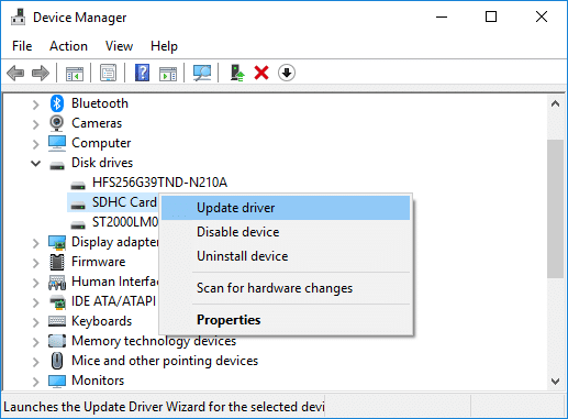 Right-click on your SD Card reader and select Update Driver