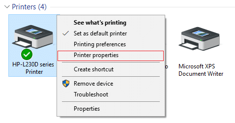 Right-click on your printer and select Printer properties
