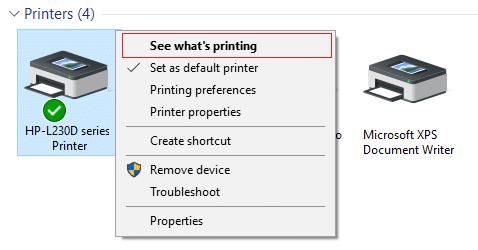 Right-click on your printer and select See what's printing