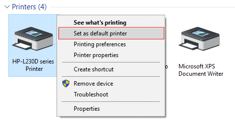 Right-click on your printer and select Set as default printer