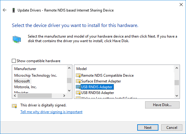 Select Microsoft then from right window selectUSB RNDIS6 Adapter