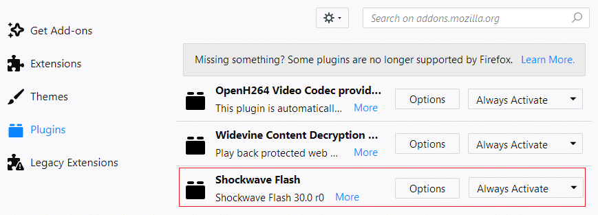 Select Shockwave Flash then from the drop-down menu select Ask to activateor Always activate