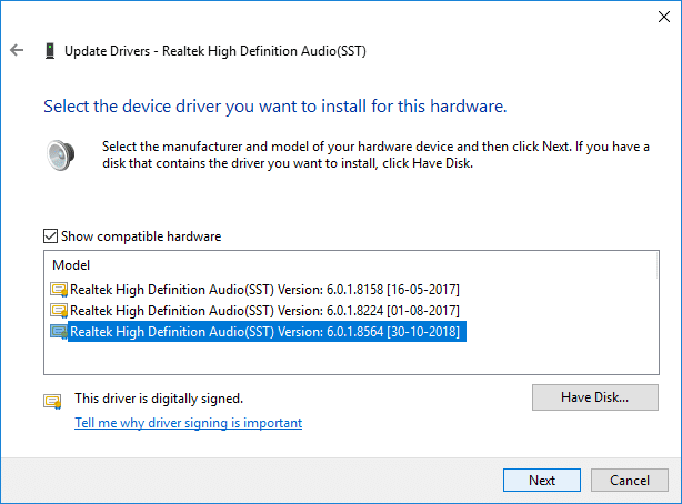 Select the appropriate driver from the list and click Next   Fix HDMI Sound Not Working in Windows 10