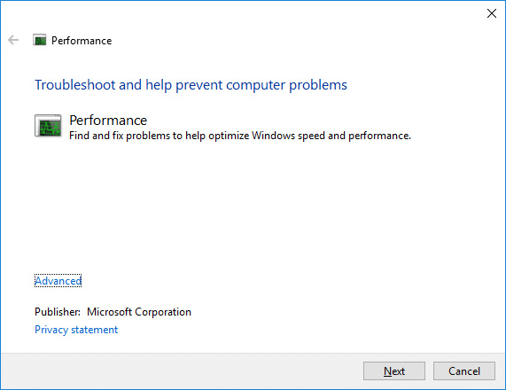 This will open Performance Troubleshooter, simply click Next
