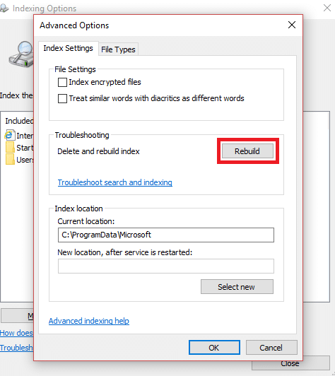 And from the new pop up dialog box click the Rebuild button