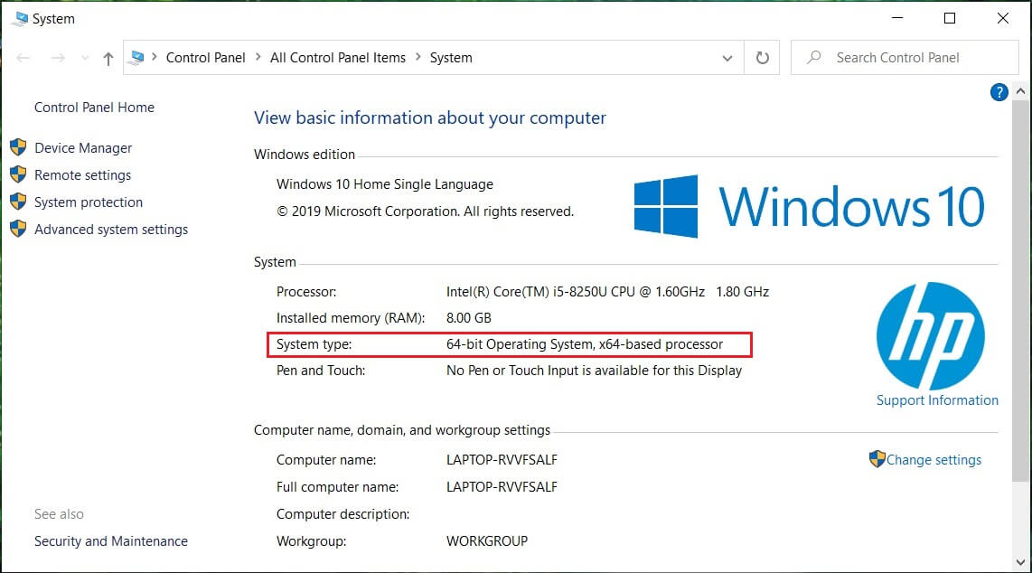 Check the System type and see if you have a 32-bit or 64-bit OS | Fix Windows Update Error 0x80070643
