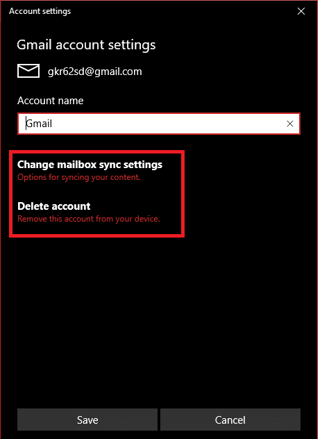 Click Change mailbox sync settings under Account settings
