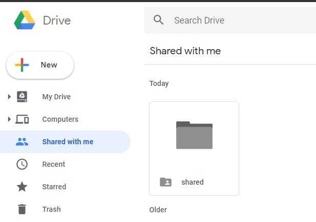 Click on 'Shared with me' from the left pane of your main account