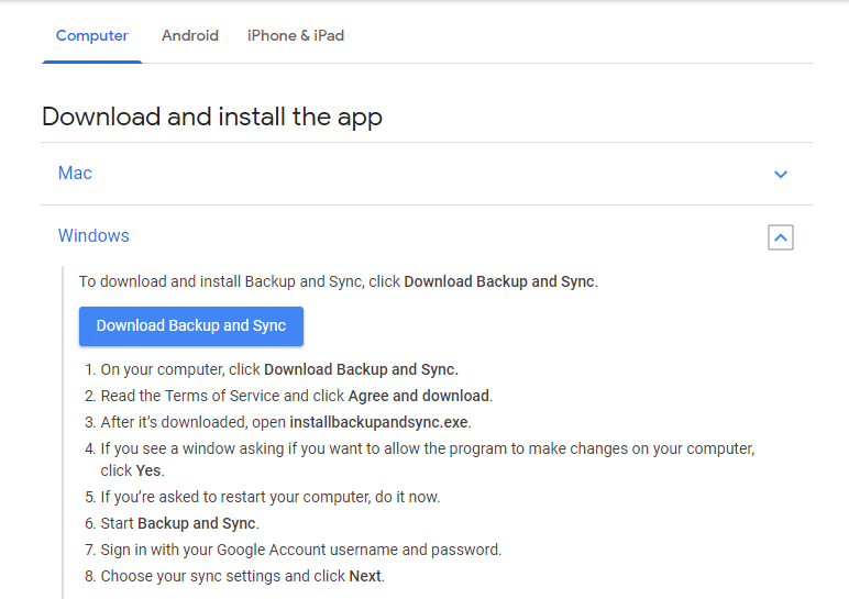 Click onDownload Backup and Sync