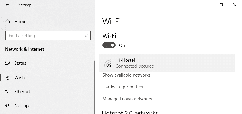 Click on Wi-Fi from left pane and select your required connection